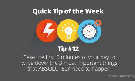 Quick Tip #12 – Take 5 minutes of your day to write down the 3 most important things that ABSOLUTELY need to happen.
